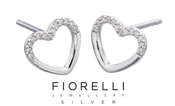 Fiorelli Cubic Zirconia Sterling Silver Love Heart Earrings - E5711C