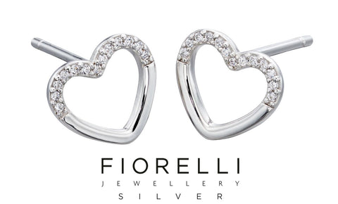 Fiorelli Cubic Zirconia Sterling Silver Heart Earrings - E5711C - Charming And Trendy Ltd