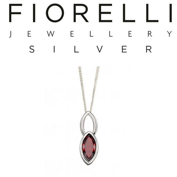 Fiorelli Sterling Silver Marquise Red Cubic Zirconia Pendant - P4691R - Charming And Trendy Ltd