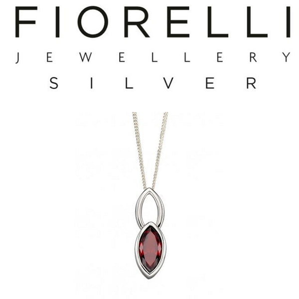 925 Sterling Silver Marquise Red Cubic Zirconia Pendant by FIORELLI - P4691R - Charming And Trendy Ltd