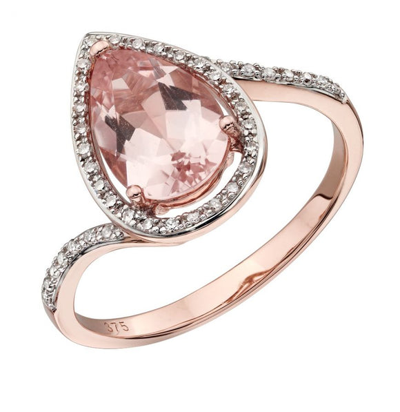 Morganite and Diamond 9K Rose Gold Tear Drop Ring by Elements Gold - GR563P - Charming And Trendy Ltd