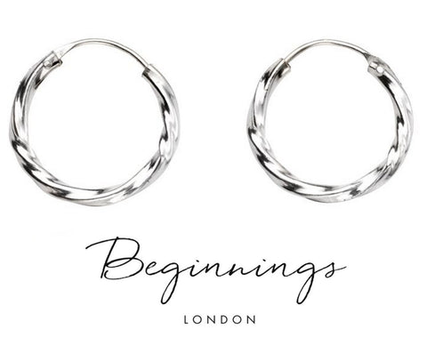 20mm Sterling Silver Diamond Cut Hoop Earrings - Charming And Trendy Ltd