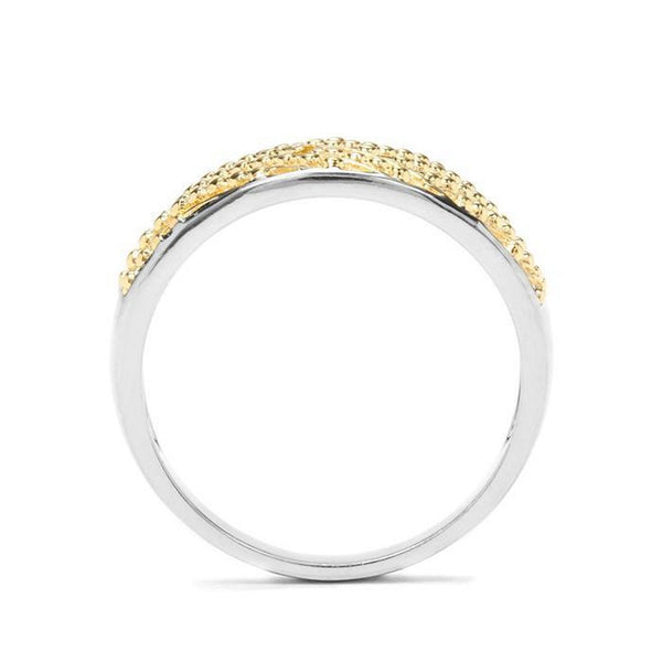 925 Sterling Silver Gold Plated Yellow Diamond Two Tone Ring -  Charming and Trendy