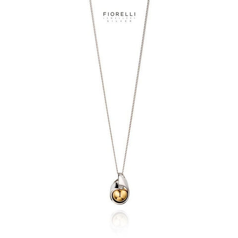 Fiorelli Sterling Silver Ribbon & Gold plated Ball Pendant - P4502 - Charming And Trendy Ltd