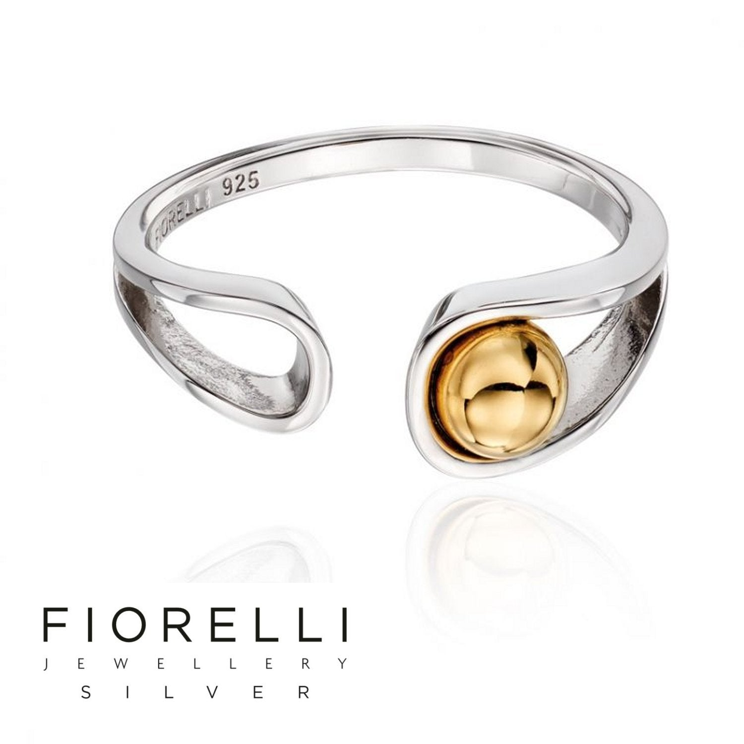 Fiorelli Sterling Silver Ribbon & Gold plated Ball open Ring - R3562 - Charming And Trendy Ltd