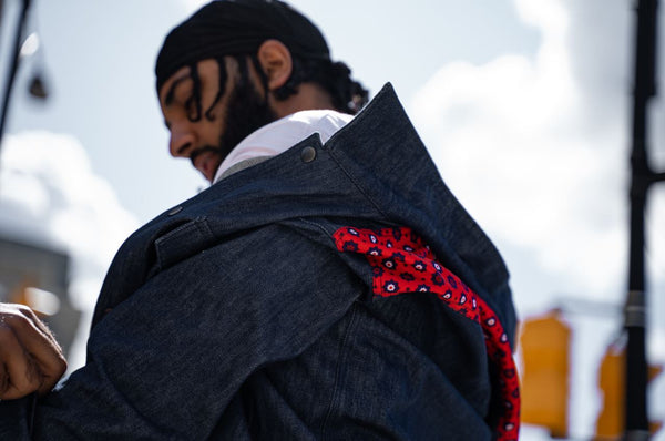 Red Ajrak Jean Jacket