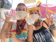 Lightning in a Bottle friends show off their Action Wipes Bandanas #festivalwipe