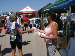 Sampling body wipes at Wildflower Triathlon
