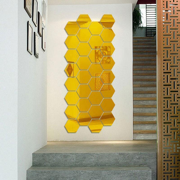 7 pcs Hexagon Acrylic Mirror Wall Stickers | Wall Art | [option 1] | [store_name]