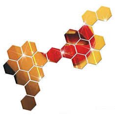 7 pcs Hexagon Acrylic Mirror Wall Stickers