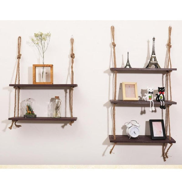 Wooden Hanging Rope Display Shelf - 3 Tier | Shelving | [option 1] | [store_name]