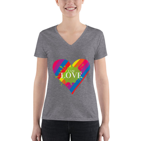 "Ladies' ""I AM Love"" V-Neck Tee - Truth Seeker's Journey"