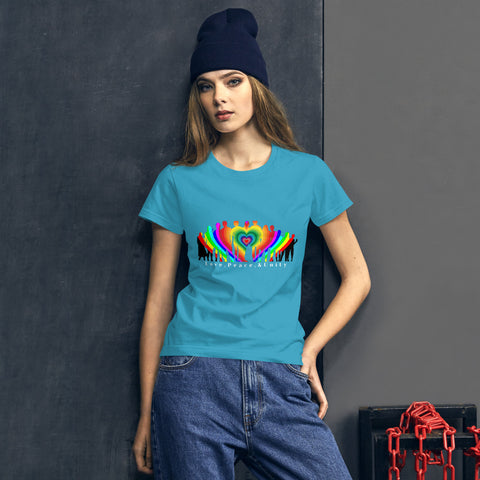 Ladies' Love, Peace, & Unity Fitted Tee - Truth Seeker's Journey
