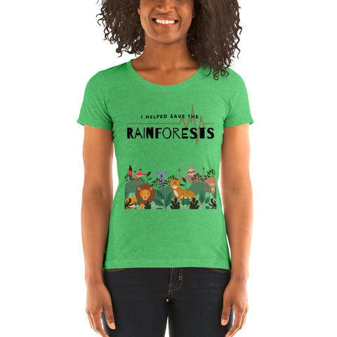 "Ladies' ""I helped Save The Rainforests"" Tri-blend Tee - Truth Seeker's Journey"