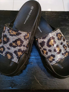 Bling Cheetah Slides