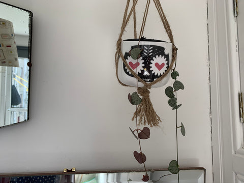 string of hearts plant with two pitiful strands hanging out a camilla prada day of the dead plant pot, black stylised skull with heart eyes, suspended in a just macrame plant holder on a white wall with the edge of a large vintage mirror on the right and a sliver of another large vintage mirror on the bottom