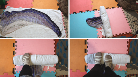 this is a set of four photos showing the process of getting as much water out of a knitted shawl as possible. the top right shows the purple shawl laying on a light blue towel, which is ontop of a pink and orange mats. the photo on the top right the shawl has mostly been rolled into the towel with a wee bit of the dark purple poking out the end. you can now see four mats of ornage, red, blue and pink. the bottom left photo the rolled up towel is being stood on with my left foor. the camera is looking straight down and you can see my black leggings and my socks are a fuzzy caramel and white stripes. the bottom right photo is almost identical to the last but both my feet are on the towel.