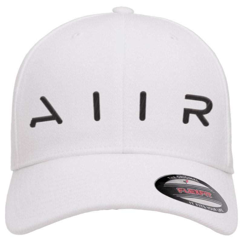 White classic baseball cap with white raised stitching