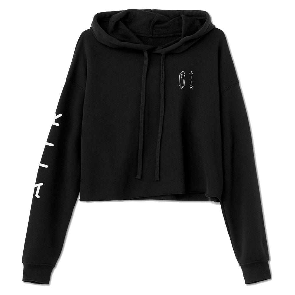 The Cloud Crop Hoodie Black