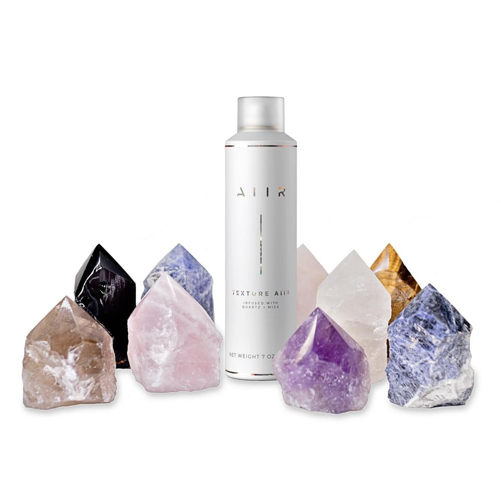 Various crystal points and crystal infused dry texture spray