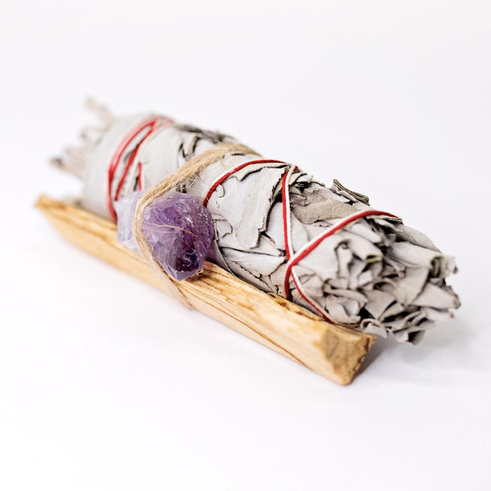Palo Santo, Sage & Amethyst Crystal Bundle cleansing smudge bundle & incense