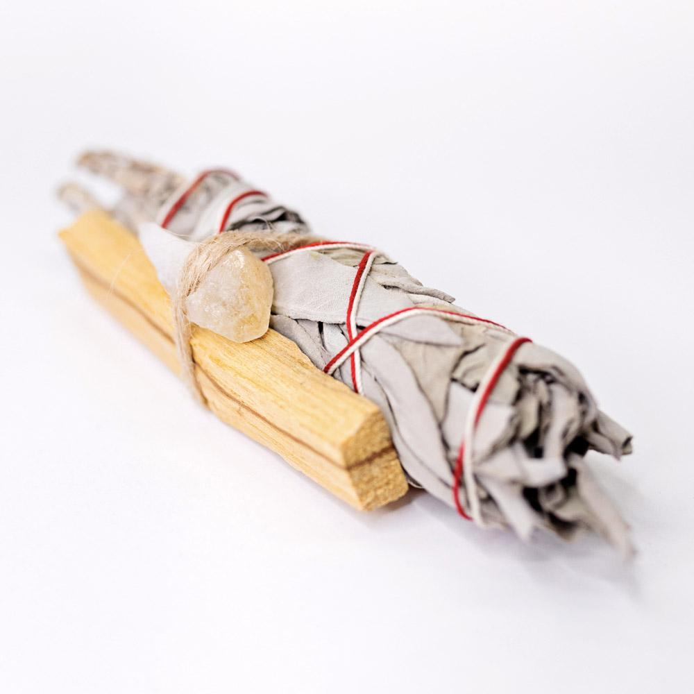 Palo Santo, Sage & Citrine Crystal Bundle cleansing smudge bundle & incense