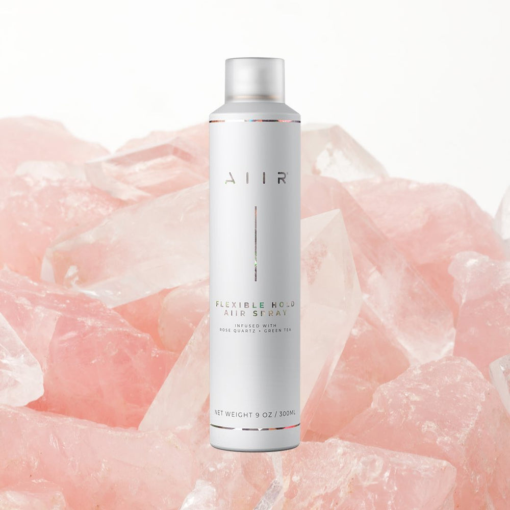 holistic hair spray infused with rose quartz and green tea