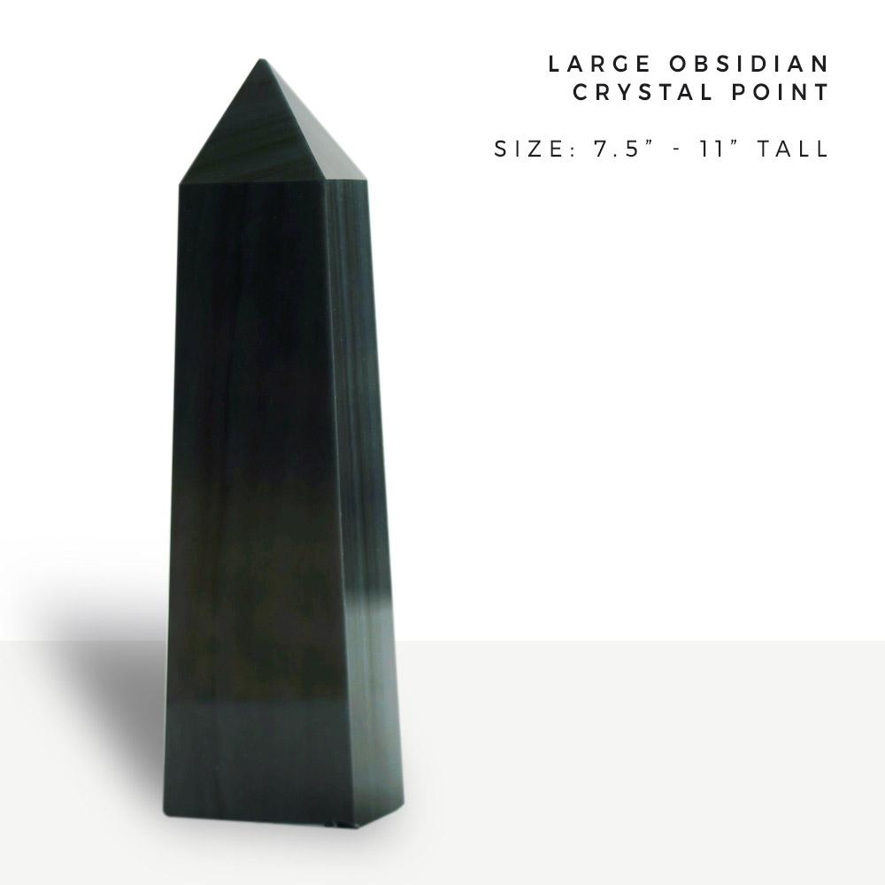 "obsidian | large crystal point 7.5"" to 11"" tall"