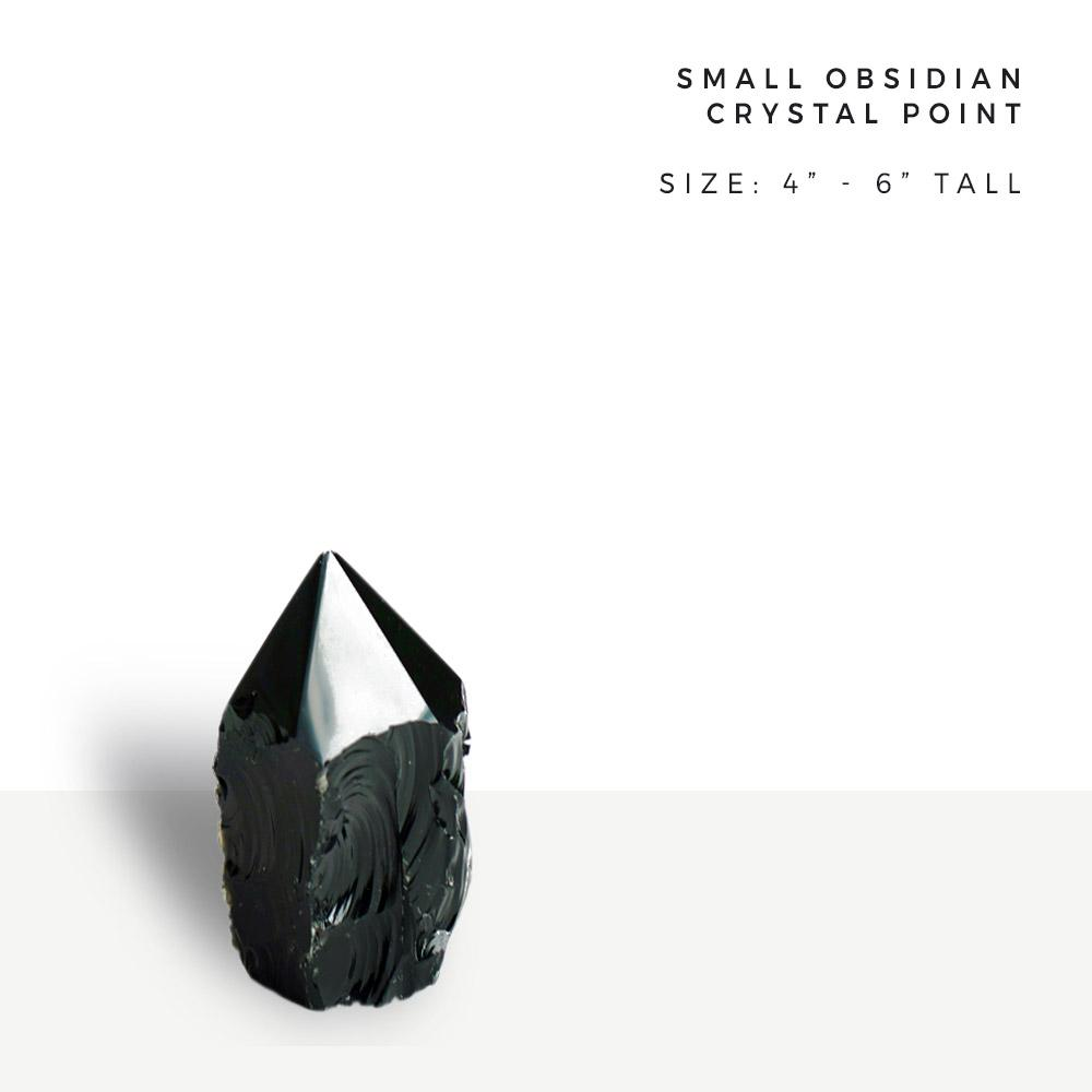 "obsidian point | small crystal point 7.5"" to 11"" tall"