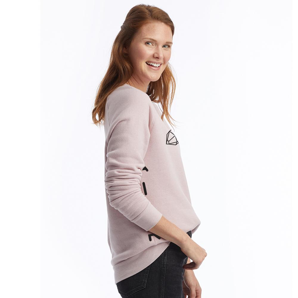 super soft fleece sweatshirt with AIIR logo and gemstone on the chest