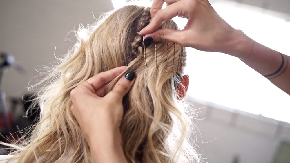 braid step 5: use bobby pins to secure braided hairstyle in place