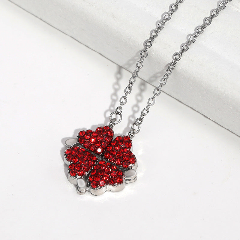 Magic Love Necklace Rose Box Set (Silver Chain Red Love)
