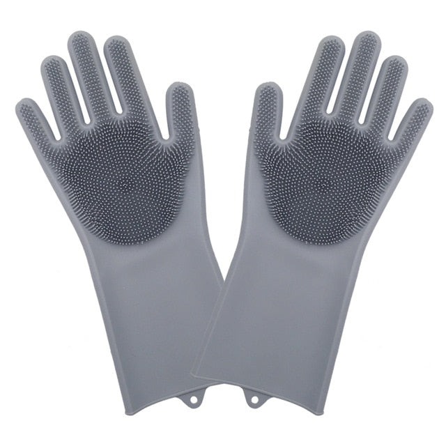 Magic Silicone Washing Gloves With Cleaning Brush (1 Pair)
