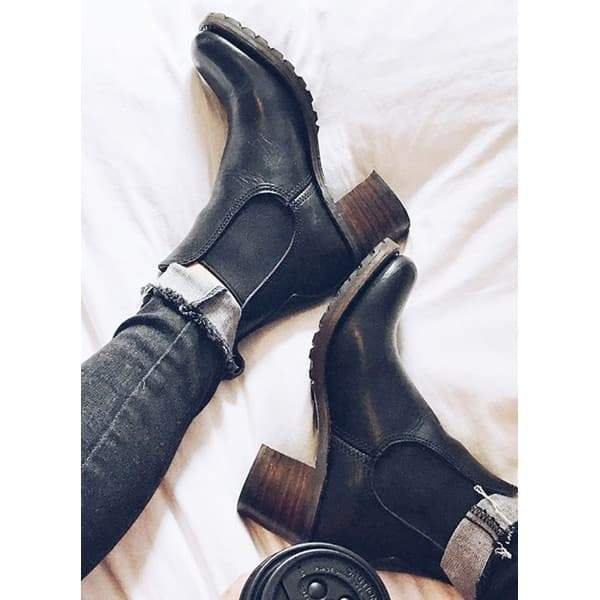 Shoesprit Chunky Cleated Heel Chelsea Boots(Ship In 24 Hours)
