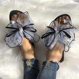 Shoesprit Cute Bow Deco Rhinestone Slippers
