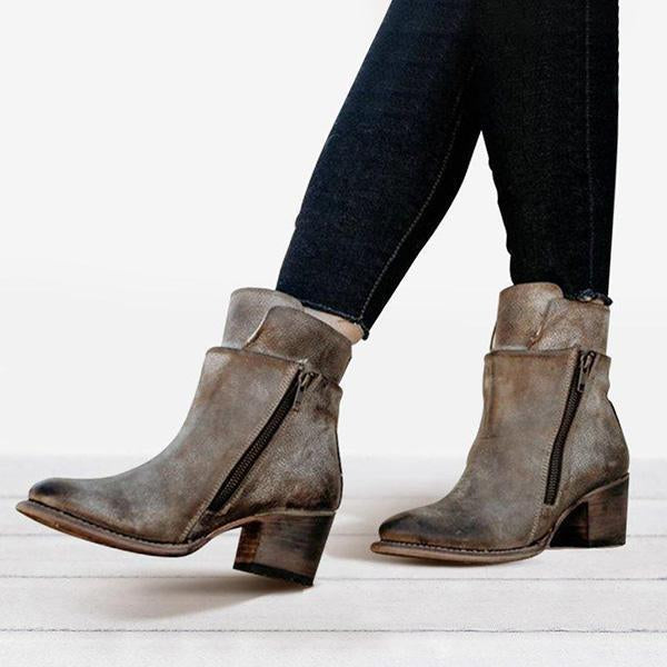 Shoesprit Women Chunky Heel Side Zipper Boots