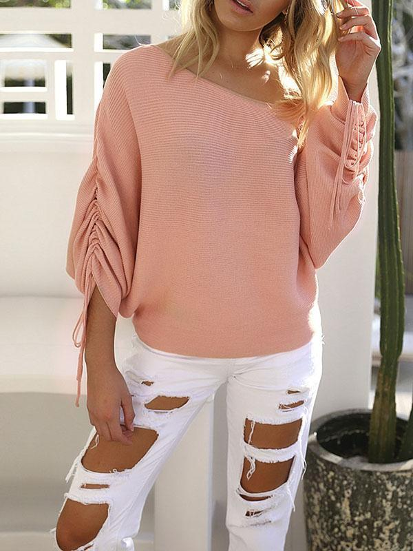 Shoesprit 3/4 Sleeve Casual Off Shoulder Knitted Shift Sweater