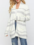 Shoesprit Striped Casual Color-block Long Sleeve Cardigan Sweater