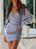 Shoesprit Women Sexy V Neck Sweater Dress