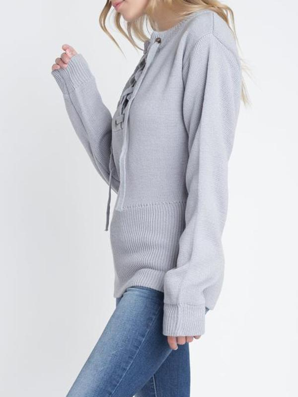Shoesprit Criss Cross Lace Up Long Sleeve Sweater