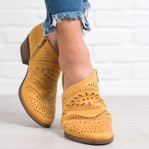 Shoesprit Hollow Low Heel Cutout Booties ( Ship In 24 Hours )