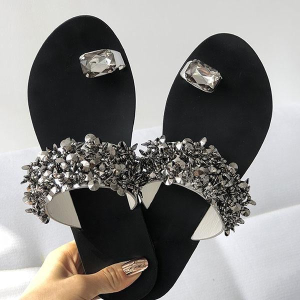 Shoesprit Womens Shiny Toe Ring Flat Slippers(Ship In 24 Hours)