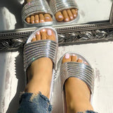 Shoesprit Shiny Strappy Slip-On Sandals