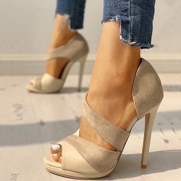 Shoesprit Suede Peep Toe Cut Out High Heels