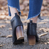 Shoesprit Slip-On Chunky Heel Closed Toe Women Elegant Boots