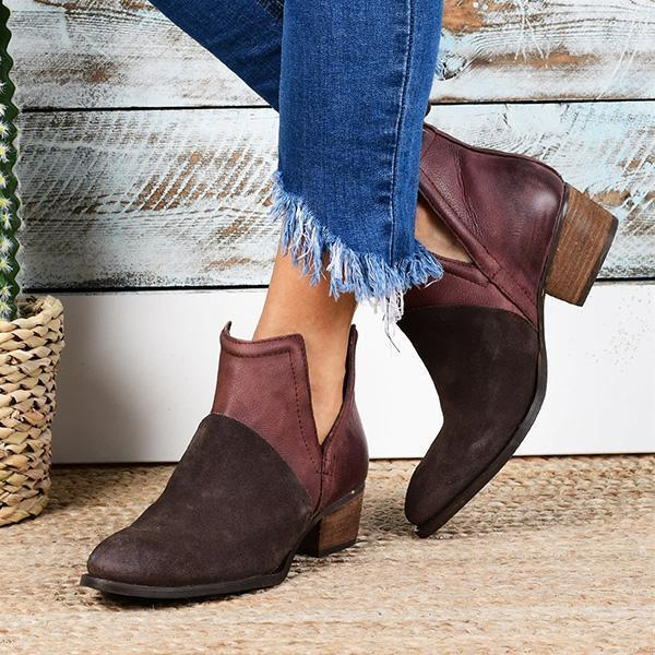 Shoesprit Faux Leather Two-Toned Booties