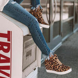 Shoesprit Women Casual Leopard Wedge Heel Sneakers