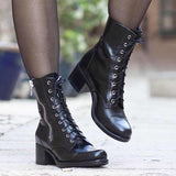 Shoesprit Chunky Heel Winter Boots Lace Up Mid-Calf Boots