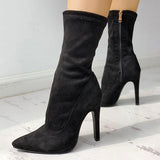 Shoesprit Solid Side Zipper Pointed Toe Heeled Boots