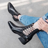 Shoesprit Stylish Leather Pointed Toe Chunky Heel Boots